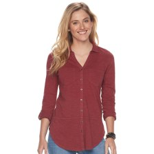 Dupe for the red top featured in the photo (original no longer available): https://www.kohls.com/product/prd-3007912/womens-sonoma-goods-for-life-utility-tunic.jsp?color=Pomegranate&prdPV=2