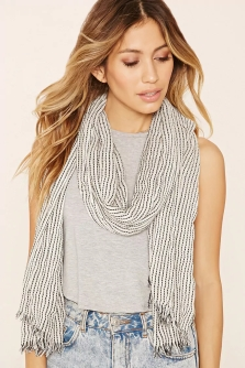 Dupe for the scarf featured (original no longer available): http://www.forever21.com/ca/Product/Product.aspx?br=F21&category=acc&productid=1000202714